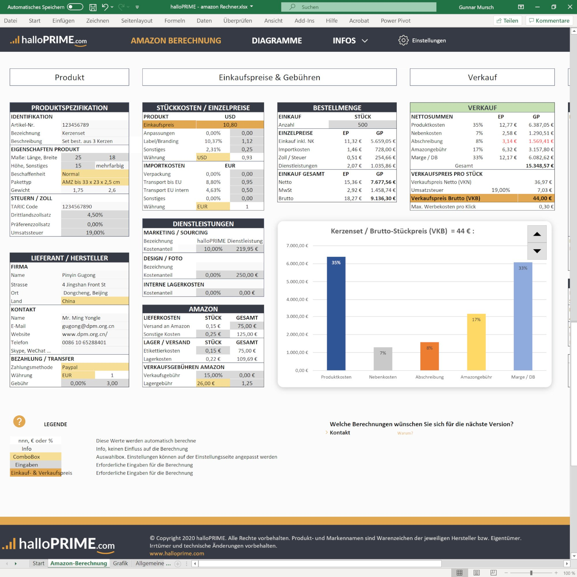 Amazon FBA Rechner für Excel - Screenshot Amazon Berechnung - halloPRIME