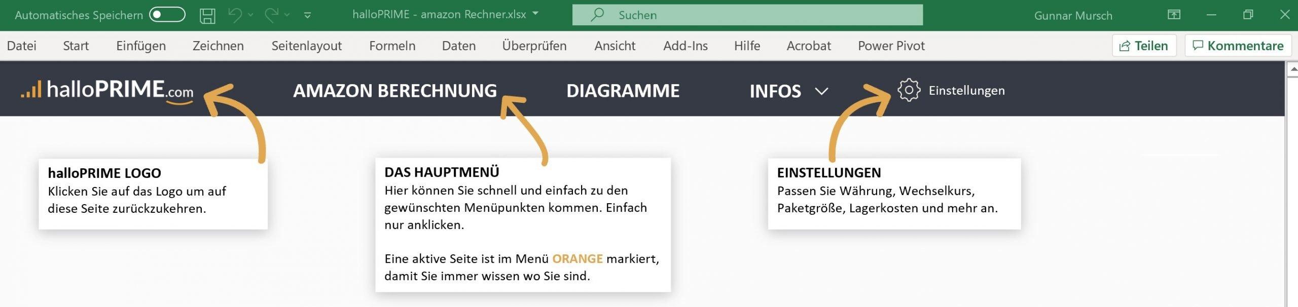 Menüführung - halloPRIME Amazon FBA Rechner für Excel